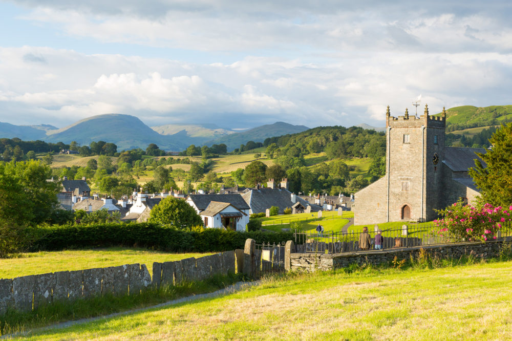 The village of Hawkshead in the Lake District National Park England on a beautiful sunny summer day.