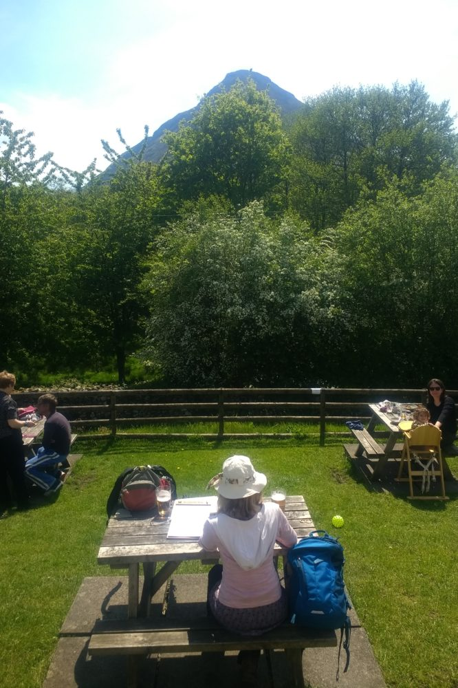 In the beer garden at the Kirkstile Inn after a long walk by Crummock Water