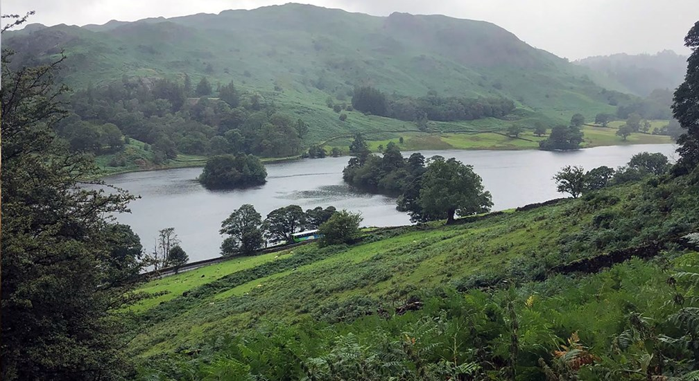 View of Rydal Water and Loughrigg Terrace from the Coffin Route in Summer 2019