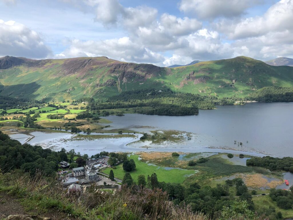 Floodwaters at Derwent Water, seen from Surprise View