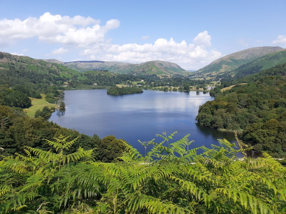 Grasmere seen from Loughrigg Terrace on a hot day in July