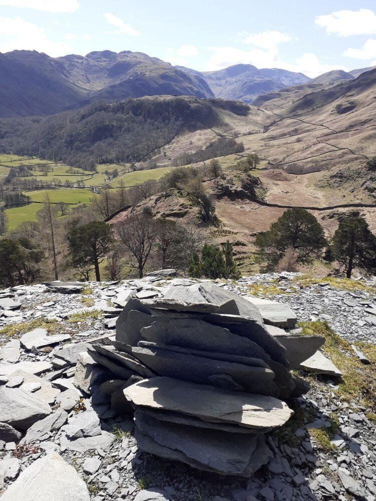 Quarried slate and mountains beyond Borrowdale